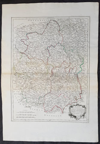 1777 Santini Antique Map French Provinces, Bourges Nevers Guéret Moulins Limoges
