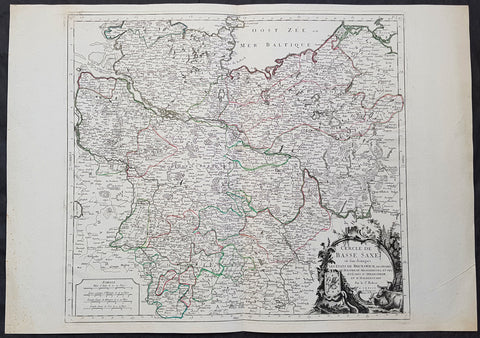 1778 De Vaugondy Large Antique Map Lower Saxony Germany