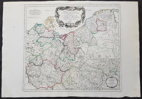 1778 Santini Large Antique Map of Upper Saxon Circle, NE Germany, Prussia, Brandenburg