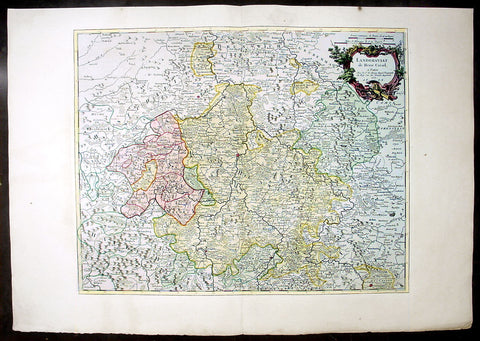 1757 Le Rouge Large Antique Map of theHessen Region Germany - Cassel, Herschfeld