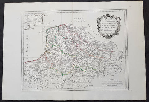 1777 F. Santini Antique Map Flanders Artois Hainaut Picardy Regions of Belgium