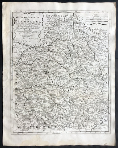 1695 De Rossi Large Old, Antique Map of The Champagne Region of France