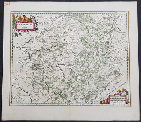 1646 Jan Jansson Antique Map Historic regions Champagne & Brie Northern France