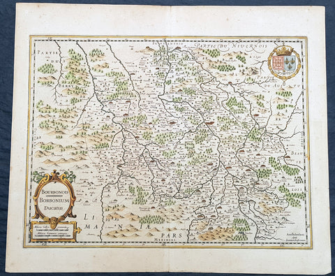 1629 Jansson Old, Antique Map of Bourbonnais Region of Central France
