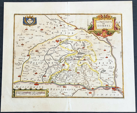 1607 Mercator & Hondius Old, Antique Map Dombes, Ain Dept. of France, Lyon