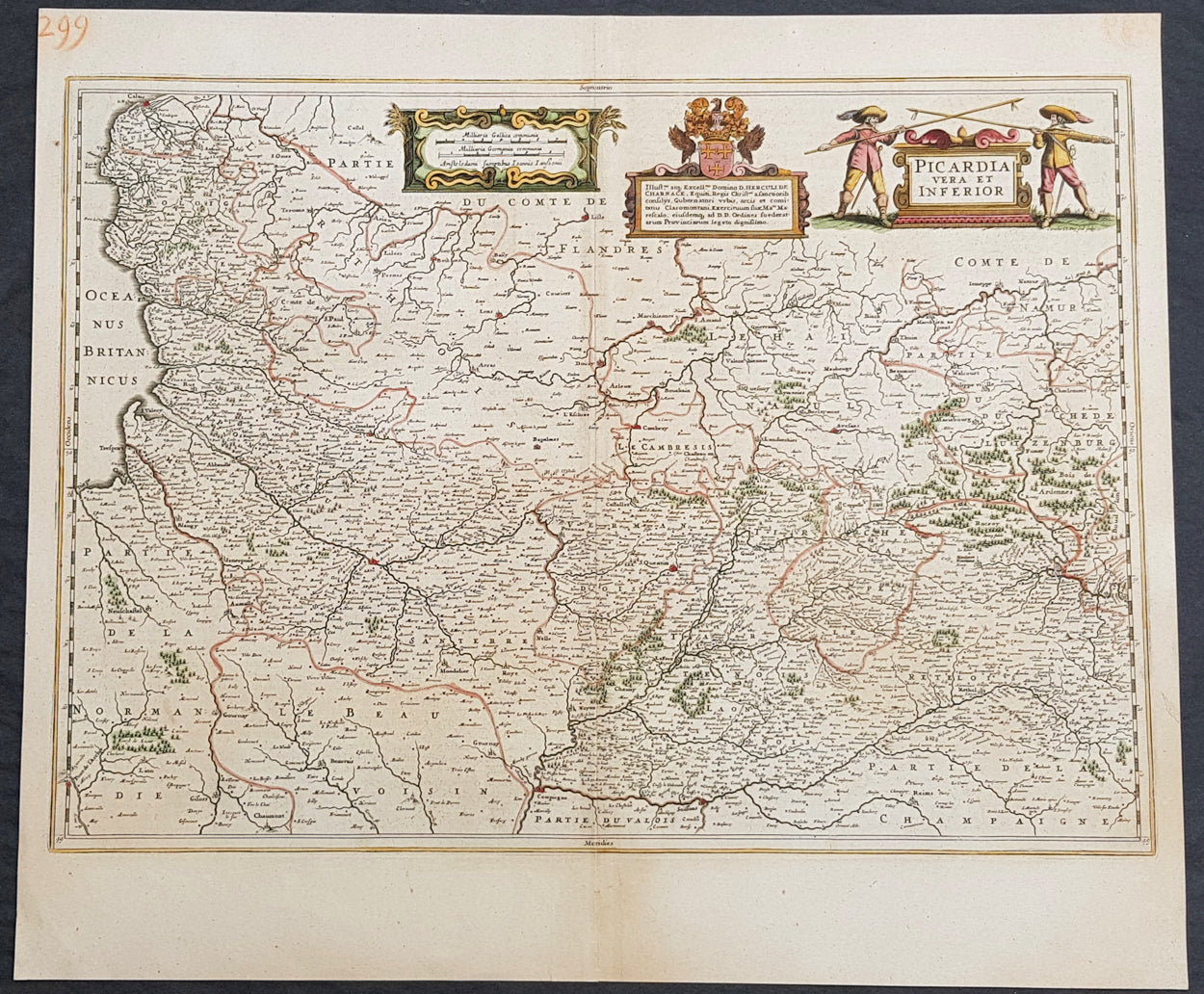 Map Of France Calais.1638 Jan Jansson Antique Map Of The Picardy Region Of Northern
