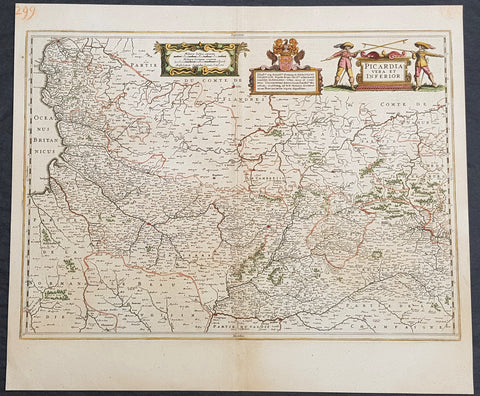 1638 Jansson Old, Antique Map of The Picardy, Calais Picardie, Northern France