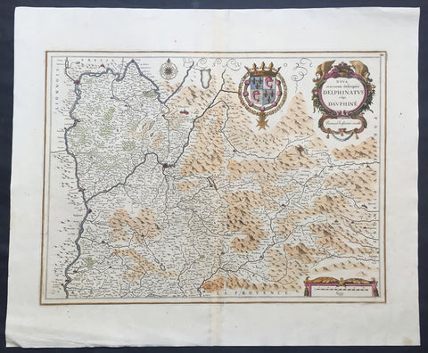 1638 Jansson Old, Antique Map of the Dauphine Region of France, Grenoble