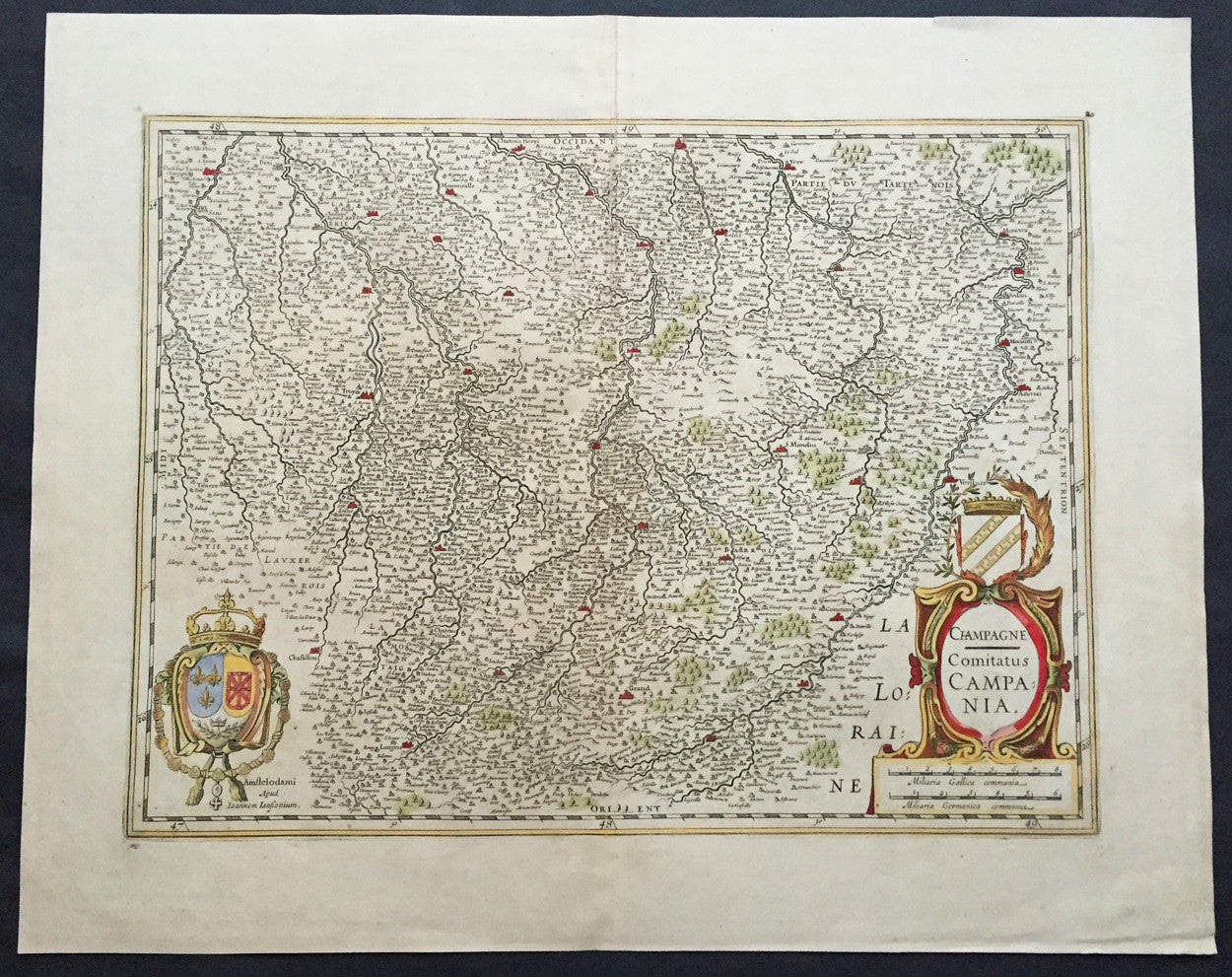 1619 Jansson Large Old Antique Map of the Champagne Region of