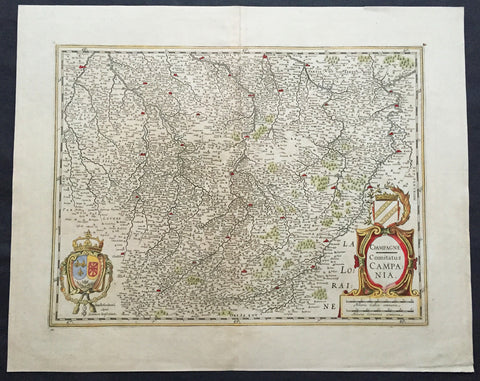 1619 Jansson Large Old, Antique Map of the Champagne Region of France