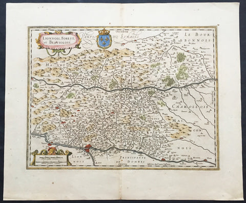 1619 Jan Jansson Antique Map Loire & Rhone Rivers, Auvergne-Rhône-Alpes, France