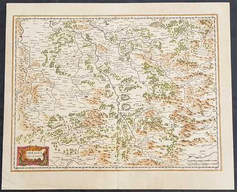 1638 Mercator Hondius Old,Antique Map of Lorraine, France