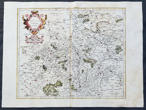 1589 Gerard Mercator Original 1st Ed. Antique Map of German State of Hesse