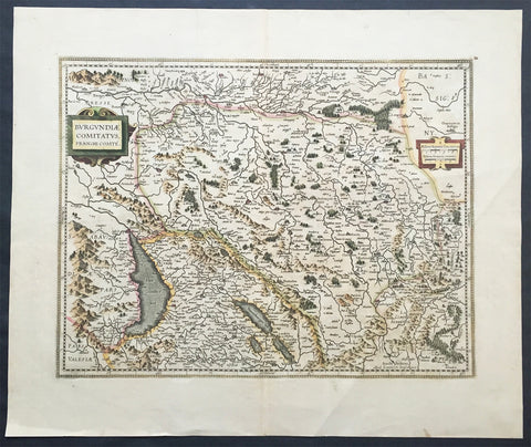 1628 Jansson Old, Antique Map Franche Comte, France - Switzerland, Lake Geneva