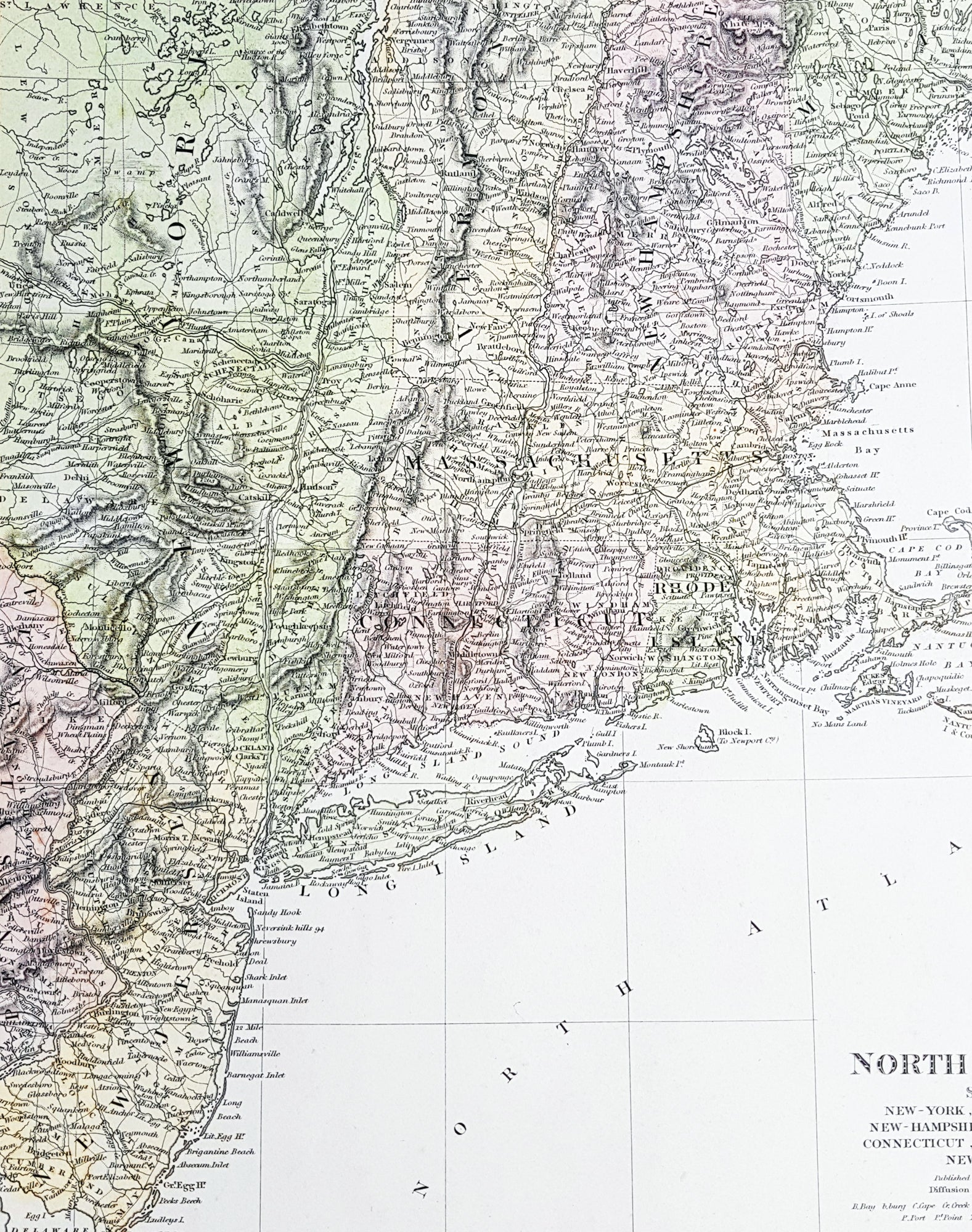 1832 SDUK Antique Map of New York, New England & New Jersey - North Old Maps Of New Jersey Coast on map of jersey shore towns, map of jersey shore coast, map of europe coast, map maryland coast, map of southeastern united states coast, map of long beach island jersey shore, map of north jersey beaches, map of tybee island coast, map new york coast, map of washinton coast, map of lake michigan coast, map of singapore coast, map of eastern u.s. coast, map of thailand coast, map of biloxi coast, map of pismo beach coast, new jersey map east coast, map of south jersey coast, map of eastern united states coast, map of south atlantic coast,