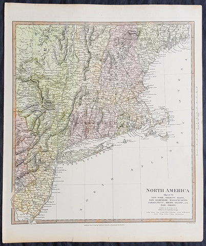 1832 SDUK Antique Map of New England, New York to New Jersey