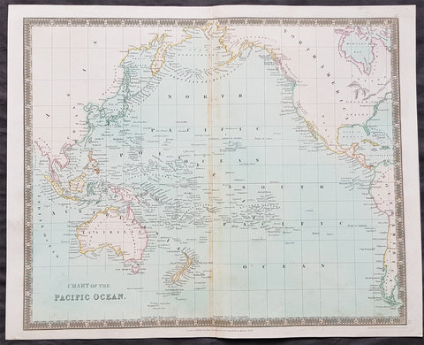 1834 Henry Teesdale Antique Map The Pacific, Australia, New Zealand, Nth America