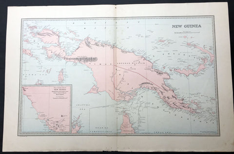 1886 Picturesque Atlas Large Antique Map of Papua New Guinea
