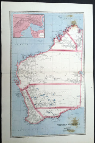 1888 Picturesque Atlas Large Antique Map of Western Australia