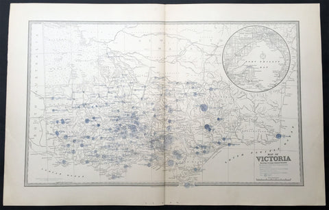 1888 Picturesque Atlas Large Antique Rainfall Map of Victoria, Australia