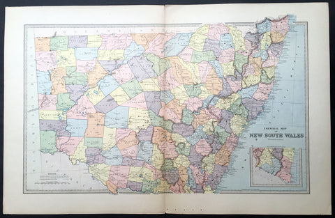 1888 Picturesque Atlas Large Antique Map of New South Wales, Australia