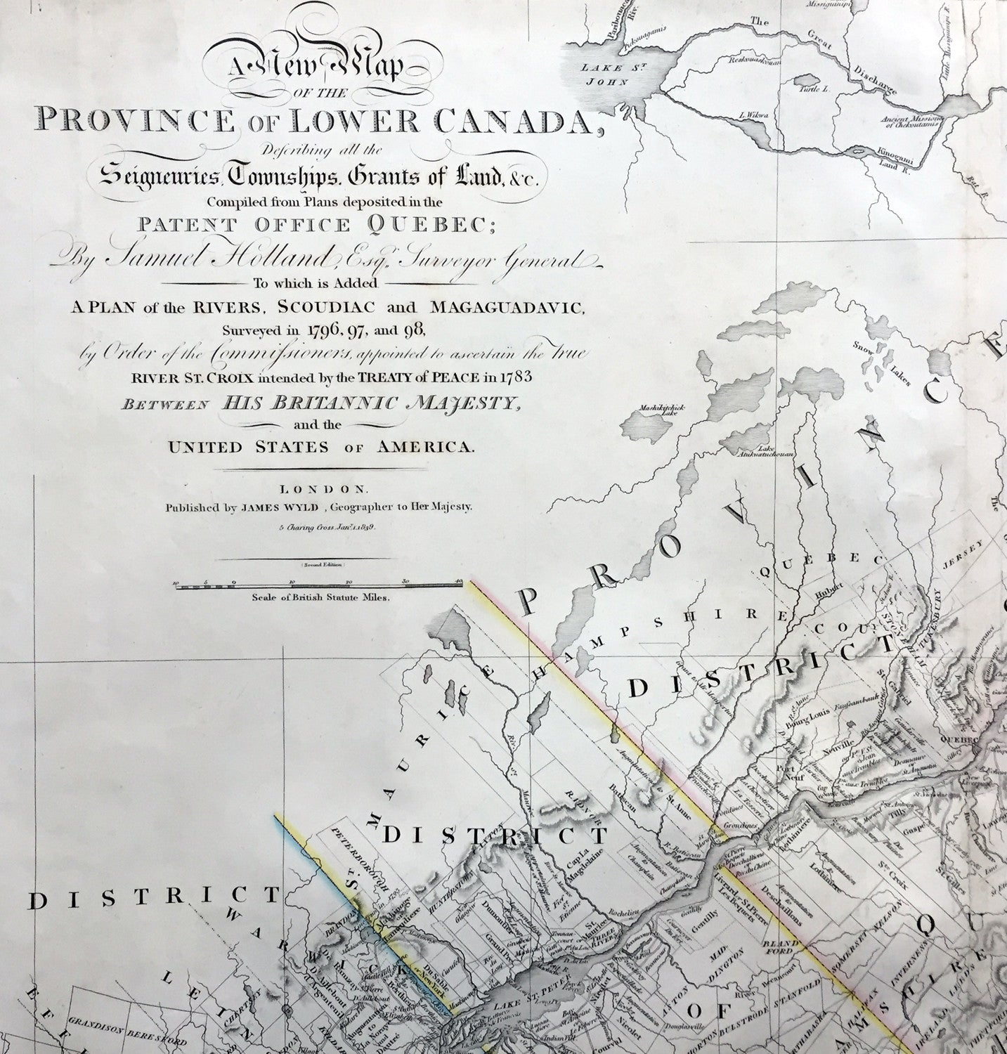 James Wyld Large Antique Map Provinces Of Lower Canada St - Map of usa and canada with states and provinces