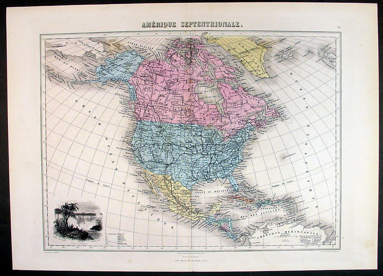 Map Of America In 1861.1861 Migeon Large Antique Map Of North America Inset Of Niagara