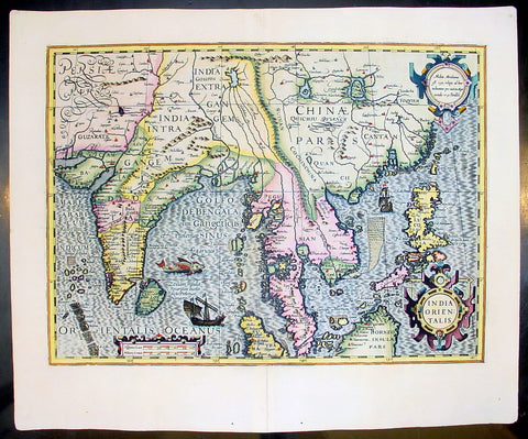 1609 Henricus Hondius Antique Map of India, China & SE Asia