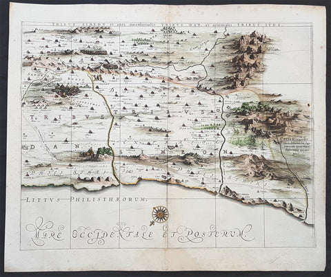 1662 Hornius & Jansson Antique Holy Land Map of the Tribes of Simeon, Dan & Juda