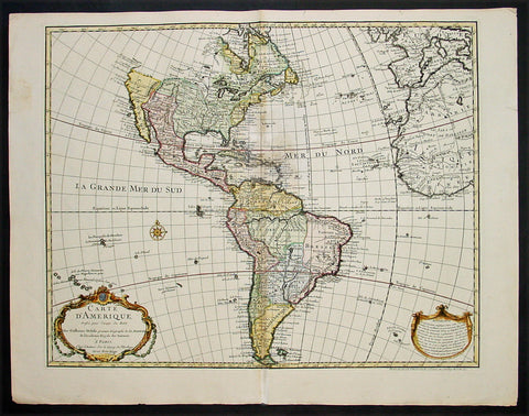 1745 Claude Delisle Large Antique Map of America - Magnificent Landmark Map