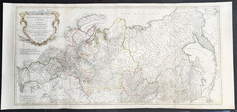 1762 D Anville Very Large Antique Map of Russia, Siberia, Mongolia, China, Japan