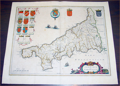 1637 Blaeu Antique Map The English County of Cornwall