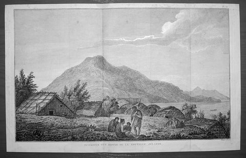 1785 Cook Antique Print of a Marae on Motuara Is. Queen Charlotte Sound, New Zealand 1777