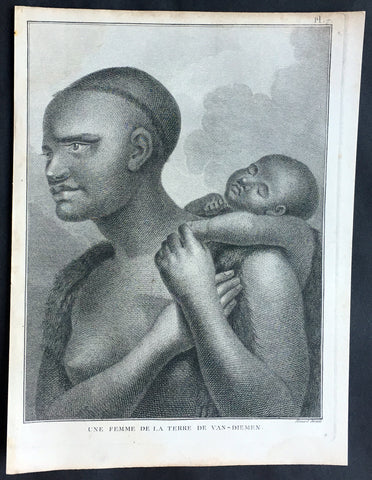 1785 Capt. Cook Antique Print Aboriginal Woman of Bruny Island, Tasmania in 1777