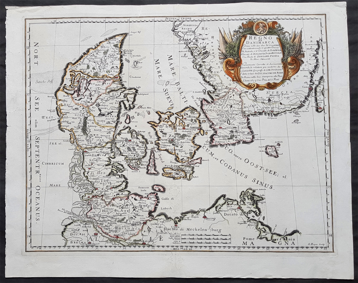 1677 De Rossi Large Original Antique Map of Denmark & Sweden, Schleswi –  Classical Images