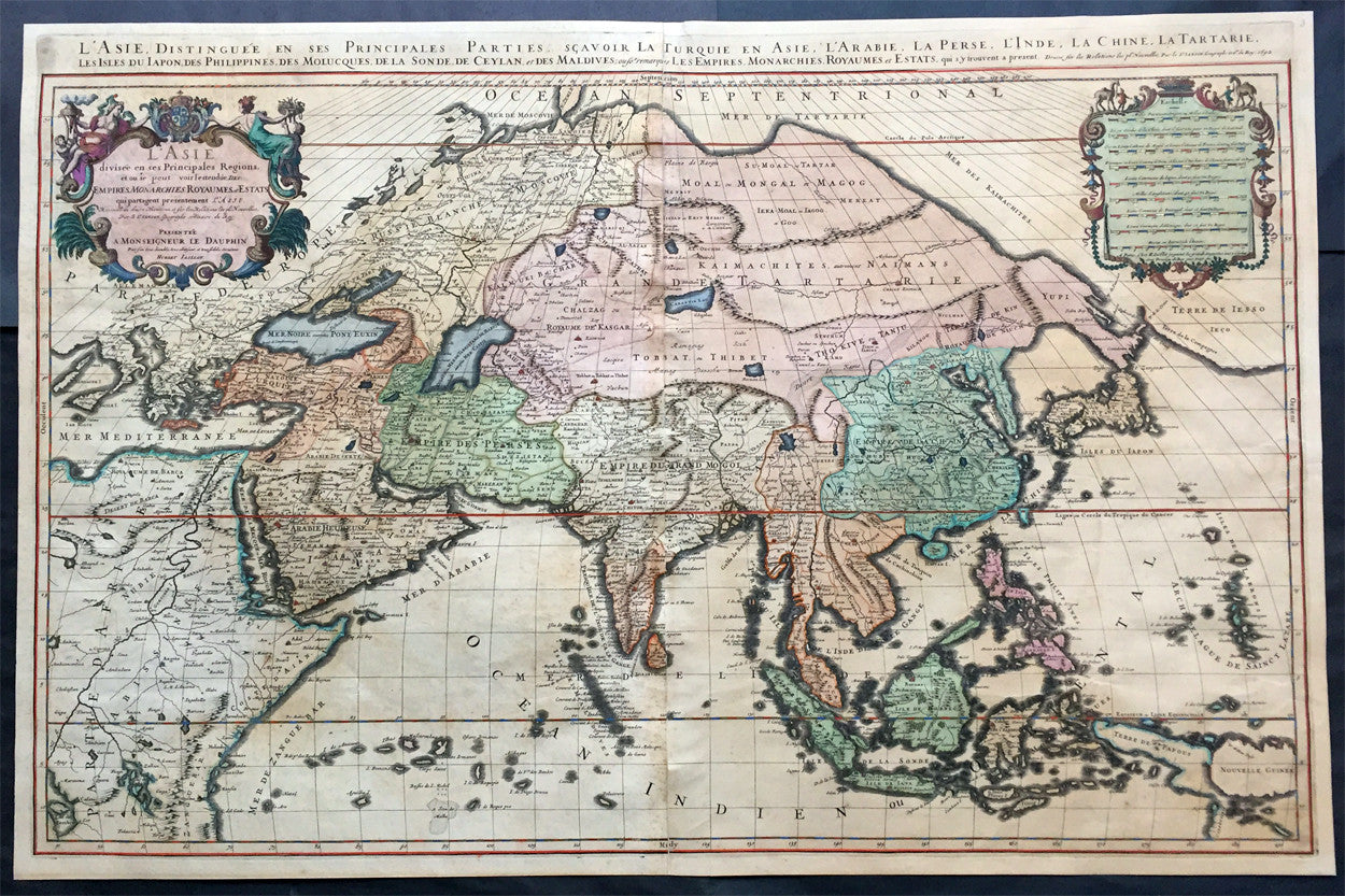 1692 Jaillot Very Large Antique Map Of Asia China Se Asia Middle