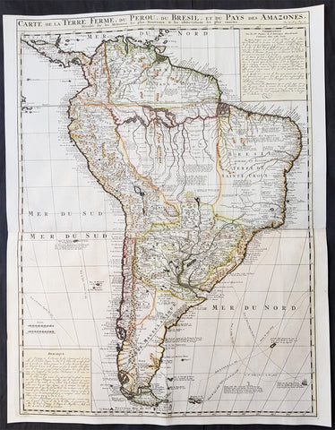 1719 Henri Chatelain Large Original Antique Map of South America