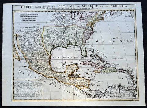 1719 Chatelain Antique Map of North America, GOM, Caribbean, United States
