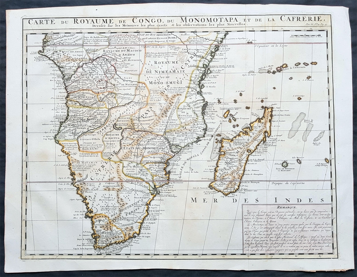 1719 Chatelain Original Antique Map of Southern Africa Madagascar