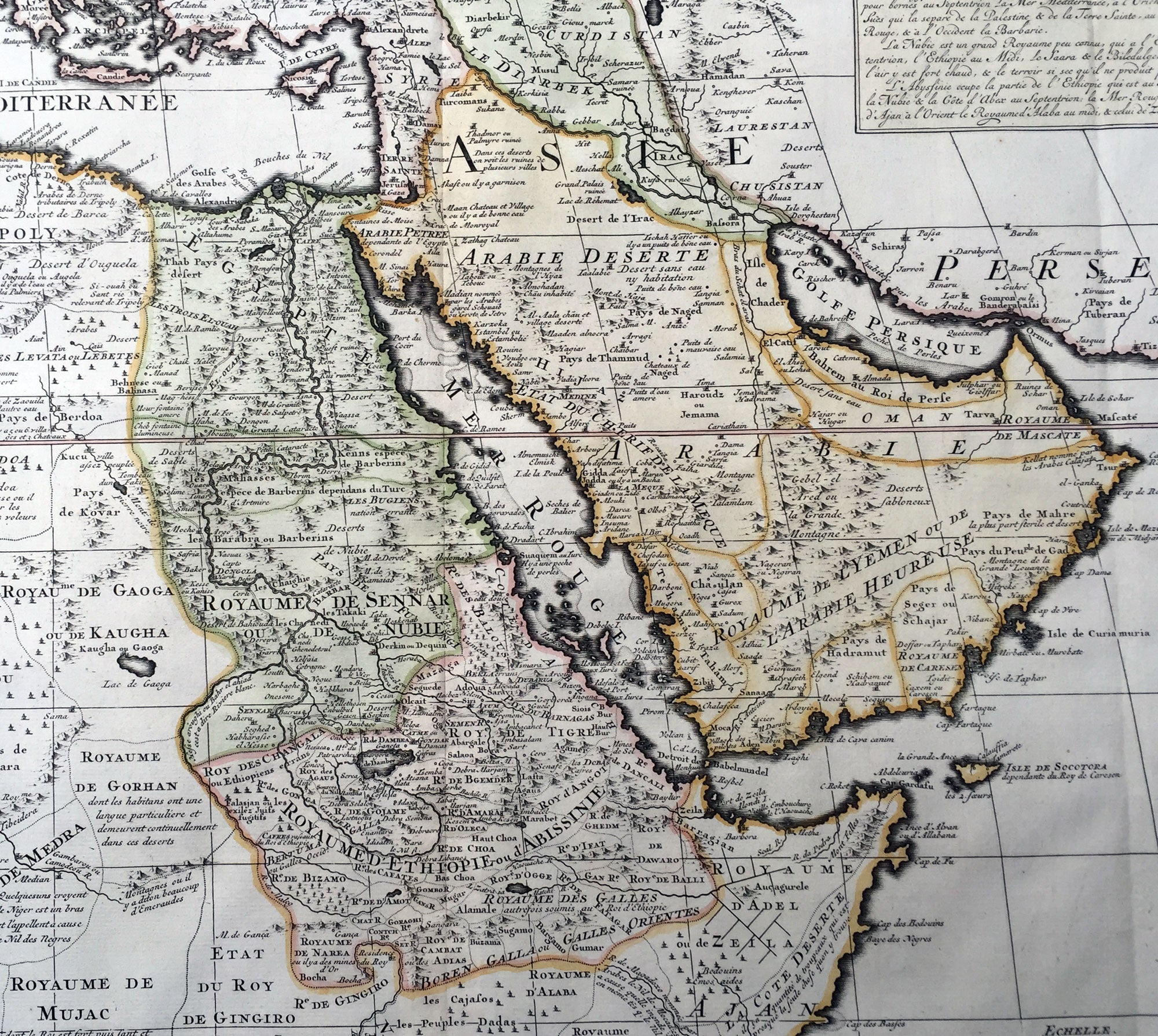 Chatelain Large Old Antique Map Of Saudi Arabia Egypt The - Vintage map of egypt