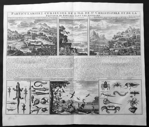 1719 Chatelain Large Antique Print of St Christopher Island, Antilles, Caribbean