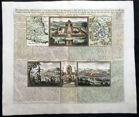 1719 Chatelain Large Antique Maps and Views of Mexico & Mexico City