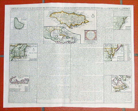 1719 Chatelain Antique Maps of Colonial States of America GOM Caribbean