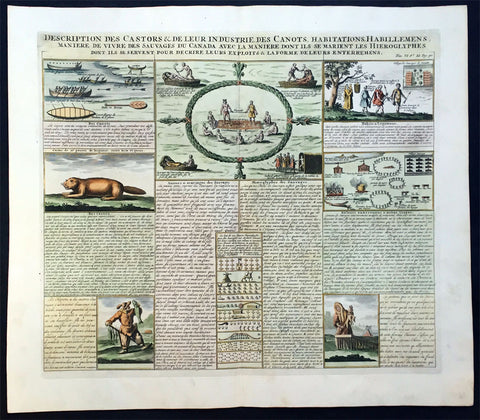 1719 Chatelain Antique Print of Canadian Indians, Beavers