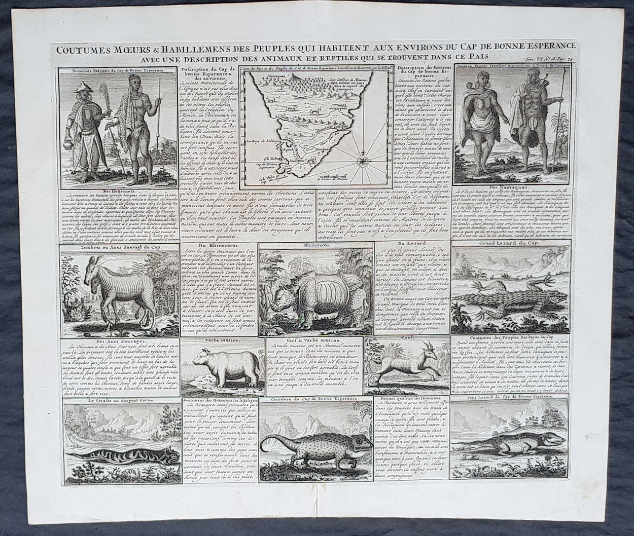 49ea3b5300b7c 1719 Henri Chatelain Rare Antique Map, Peoples, Animals & Views of Sou –  Classical Images