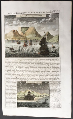 1719 Chatelain View of Cape Town, Table Top Mountain South Africa