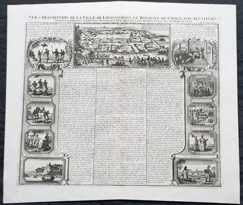 1719 Chatelain Large Antique Print Views of Loango & Mbanza Loango, Congo Africa