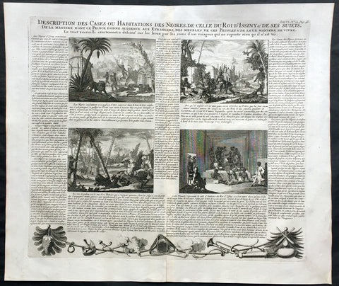 1719 Chatelain Large Antique Print of 4 Various African Village Scenes