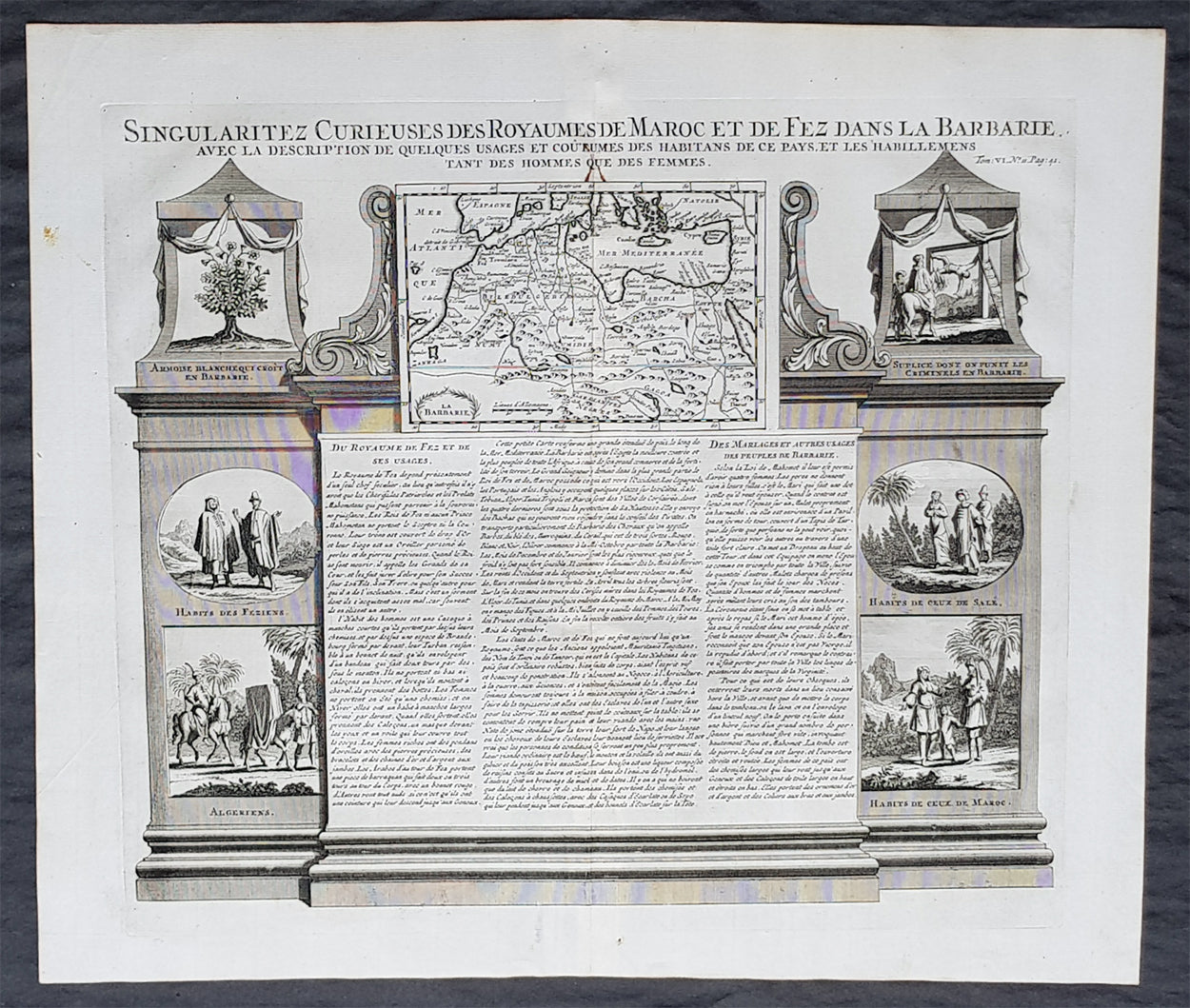 1719 Chatelain Large Antique Map Of Barbary Coast North Africa Morocc Classical Images