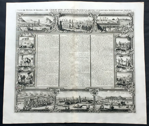 1719 Chatelain Large Antique Print North Africa City Views Algiers, Jijel, Tripoli & Tunis